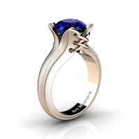 French Classic 14K Rose Gold 3.0 Ct Blue Sapphire Solitaire Corset Ring R456-14KRGSBS