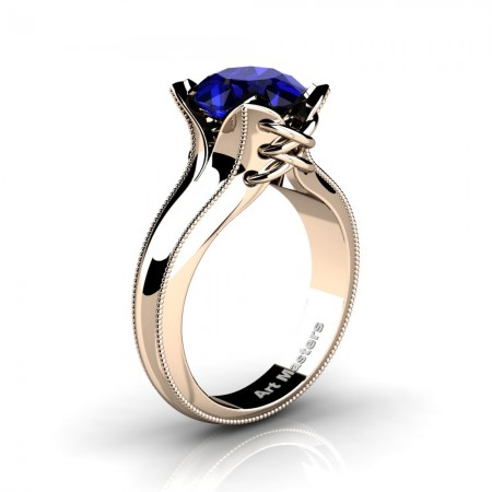 French-Classic-14K-Rose-Gold-3-0-Ct-Blue-Sapphire-Solitaire-Corset-Ring-R456-14KRGSBS