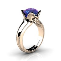 French Classic 14K Rose Gold 3.0 Ct Chrysoberyl Alexandrite Solitaire Corset Ring R456-14KRGAL