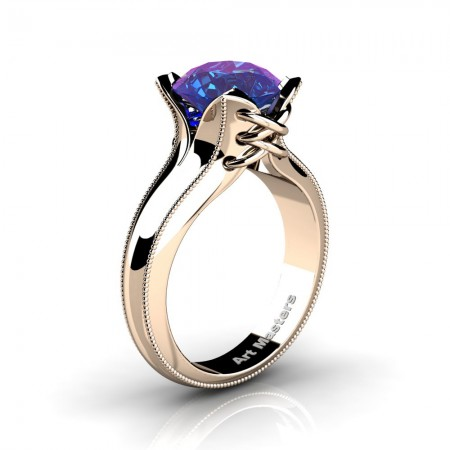 French-Classic-14K-Rose-Gold-3-0-Ct-Chrysoberyl-Alexandrite-Solitaire-Corset-Ring-R456-14KRGAL
