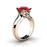 French Classic 14K Rose Gold 3.0 Ct Ruby Solitaire Corset Ring R456-14KRGGR