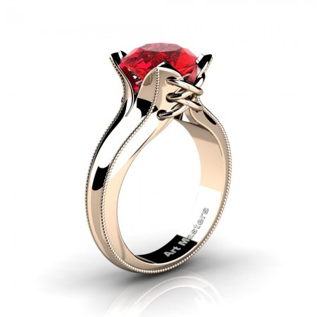 French-Classic-14K-Rose-Gold-3-0-Ct-Ruby-Solitaire-Corset-Ring-R456-14KRGR