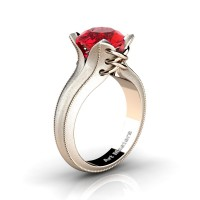 French Classic 14K Rose Gold 3.0 Ct Ruby Solitaire Corset Ring R456-14KRGSR