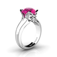 French Classic 14K White Gold 3.0 Ct Pink Sapphire Solitaire Corset Ring R456-14KWGGPS