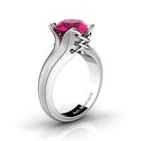 French Classic 14K White Gold 3.0 Ct Pink Sapphire Solitaire Corset Ring R456-14KWGSPS