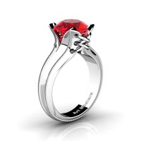 French Classic 14K White Gold 3.0 Ct Ruby Solitaire Corset Ring R456-14KWGGR