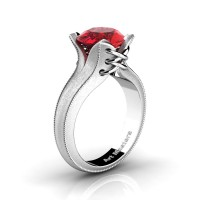 French Classic 14K White Gold 3.0 Ct Ruby Solitaire Corset Ring R456-14KWGSR