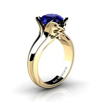 French Classic 14K Yellow Gold 3.0 Ct Blue Sapphire Solitaire Corset Ring R456-14KYGGBS