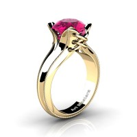 French Classic 14K Yellow Gold 3.0 Ct Pink Sapphire Solitaire Corset Ring R456-14KYGGPS