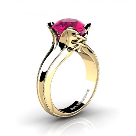 French-Classic-14K-Yellow-Gold-3-0-Ct-Pink-Sapphire-Solitaire-Corset-Ring-R456-14KYGPS