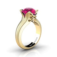 French Classic 14K Yellow Gold 3.0 Ct Pink Sapphire Solitaire Corset Ring R456-14KYGSPS