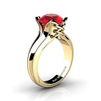 French Classic 14K Yellow Gold 3.0 Ct Ruby Solitaire Corset Ring R456-14KYGGR