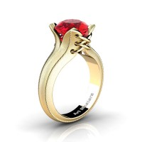 French Classic 14K Yellow Gold 3.0 Ct Ruby Solitaire Corset Ring R456-14KYGSR