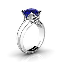 French Classic 14K White Gold 3.0 Ct Blue Sapphire Solitaire Corset Ring R456-14KWGGBS