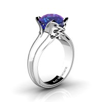 French Classic 14K White Gold 3.0 Ct Chrysoberyl Alexandrite Solitaire Corset Ring R456-14KWGAL