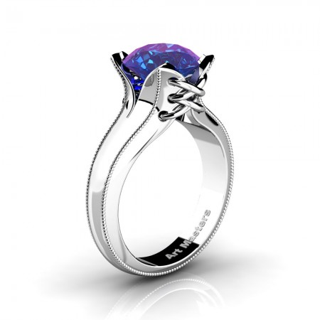 French-Classic-Arpa-14K-White-Gold-3-0-Ct-Chrysoberyl-Alexandrite-Solitaire-Corset-Ring-R456-14KWGAL-N