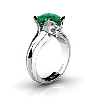 French Classic 14K White Gold 3.0 Ct Emerald Solitaire Corset Ring R456-14KWGGEM
