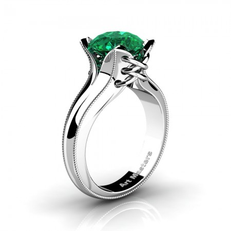 French-Classic-Arpa-14K-White-Gold-3-0-Ct-Emerald-Solitaire-Corset-Ring-R456-14KWGEM-N