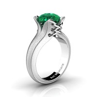 French Classic 14K White Gold 3.0 Ct Emerald Solitaire Corset Ring R456-14KWGSEM