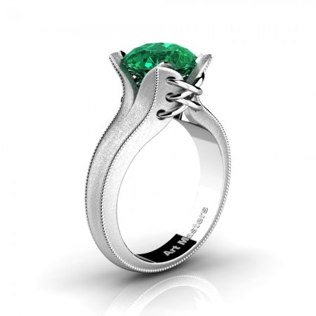 French-Classic-Arpa-14K-White-Gold-3-0-Ct-Emerald-Solitaire-Corset-Ring-R456-14KWGSEM-N