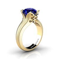 French Classic 14K Yellow Gold 3.0 Ct Blue Sapphire Solitaire Corset Ring R456-14KYGSBS