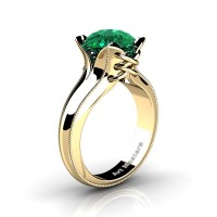 French Classic 14K Yellow Gold 3.0 Ct Emerald Solitaire Corset Ring R456-14KYGGEM