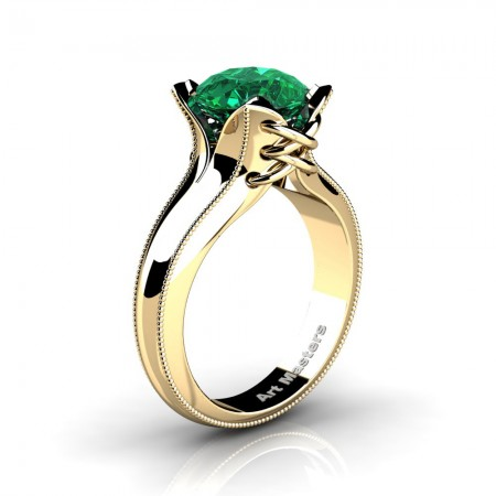 French-Classic-Arpa-14K-Yellow-Gold-3-0-Ct-Emerald-Solitaire-Corset-Ring-R456-14KYGEM