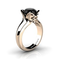 French Classic 14K Rose Gold 3.0 Ct Black Diamond Solitaire Corset Ring R456-14KRGGBD
