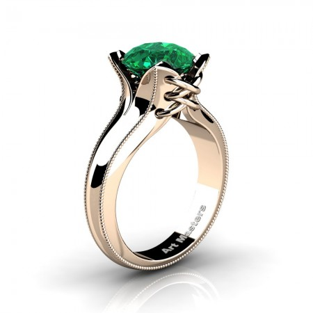 French-Classic-Feline-14K-Rose-Gold-3-0-Ct-Emerald-Solitaire-Corset-Ring-R456-14KRGEM