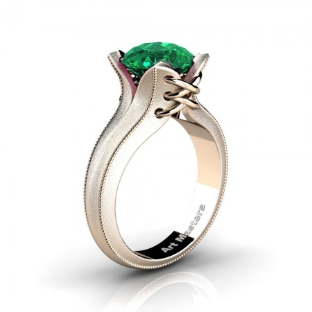 French-Classic-Feline-14K-Rose-Gold-3-0-Ct-Emerald-Solitaire-Corset-Ring-R456-14KRGSEM