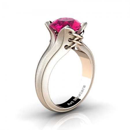 French-Classic-Feline-14K-Rose-Gold-3-0-Ct-Pink-Sapphire-Solitaire-Corset-Ring-R456-14KRGSPS
