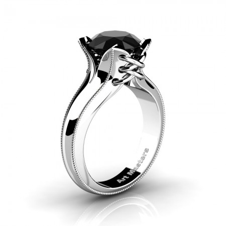 French-Classic-Feline-14K-White-Gold-3-0-Ct-Black-Diamond-Solitaire-Corset-Ring-R456-14KWGGBD