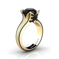 French Classic 14K Yellow Gold 3.0 Ct Black Diamond Solitaire Corset Ring R456-14KYBGBD