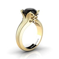 French Classic 14K Yellow Gold 3.0 Ct Black Diamond Solitaire Corset Ring R456-14KYGSBD