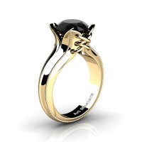 French Classic 14K Yellow Gold 3.0 Ct Black Diamond Solitaire Corset Ring R456-14KYGGBD