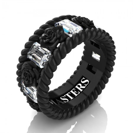 Mens-14K-Black-Gold-3-Ct-Emerald-Cut-White-Sapphire-Rose-Rope-Wedding-Ring-R1018M-14KBGWS-P