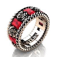 Mens 14K Rose Gold 3.0 Ctw Ruby Rose and Rope Wedding Ring R1018M-14KRGR