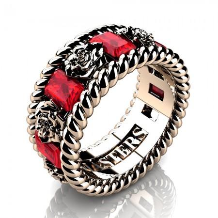 Mens-14K-Rose-Gold-3-Ct-Emerald-Cut-Ruby-Rose-Rope-Wedding-Ring-R1018-14KRGR-P