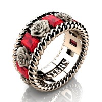 Mens 14K Rose Gold 3.0 Ctw Ruby Rose and Rope Wedding Ring R1018M-14KRGSR
