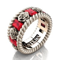 Mens 14K Rose Gold 3.0 Ctw Ruby Rose and Rope Wedding Ring R1018M-14KRGSSR
