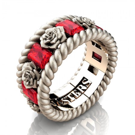 Mens-14K-Rose-Gold-3-Ct-Emerald-Cut-Ruby-Rose-Rope-Wedding-Ring-R1018-14KRGSSR-P