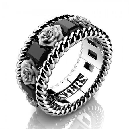Mens-14K-White-Gold-3-Ct-Emerald-Cut-Black-Diamond-Rose-Rope-Wedding-Ring-R1018-14KWGSBD-P2