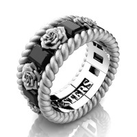 Mens 14K White Gold 3.0 Ctw Black Diamond Rose and Rope Wedding Ring R1018M-14KWGSSBD