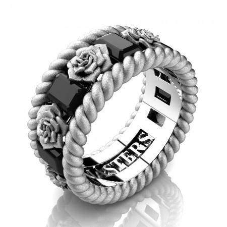 Mens-14K-White-Gold-3-Ct-Emerald-Cut-Black-Diamond-Rose-Rope-Wedding-Ring-R1018-14KWGSSBD-P2