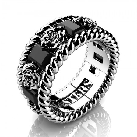 Mens-14K-White-Gold-3-Ct-Emerald-Cut-Black-Diamond-Rose-Rope-Wedding-Ring-R1018M-14KWGBD-P2