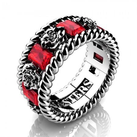 Mens-14K-White-Gold-3-Ct-Emerald-Cut-Ruby-Rose-Rope-Wedding-Ring-R1018M-14KRGR-P