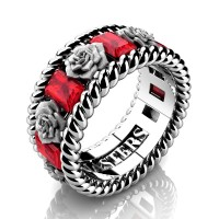 Mens 14K White Gold 3.0 Ctw Ruby Rose and Rope Wedding Ring R1018M-14KWGSR