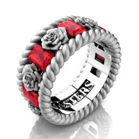 Mens 14K White Gold 3.0 Ctw Ruby Rose and Rope Wedding Ring R1018M-14KWGSSR