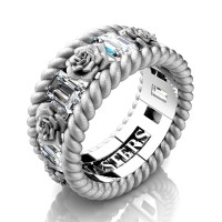 Mens 14K White Gold 3.0 Ctw White Sapphire Rose and Rope Wedding Ring R1018M-14KWGSSWS