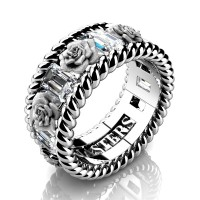 Mens 14K White Gold 3.0 Ctw White Sapphire Rose and Rope Wedding Ring R1018M-14KWGSWS